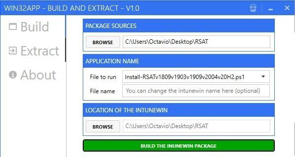 Instalar RSAT usando Win32 app Tool Microsoft Intune