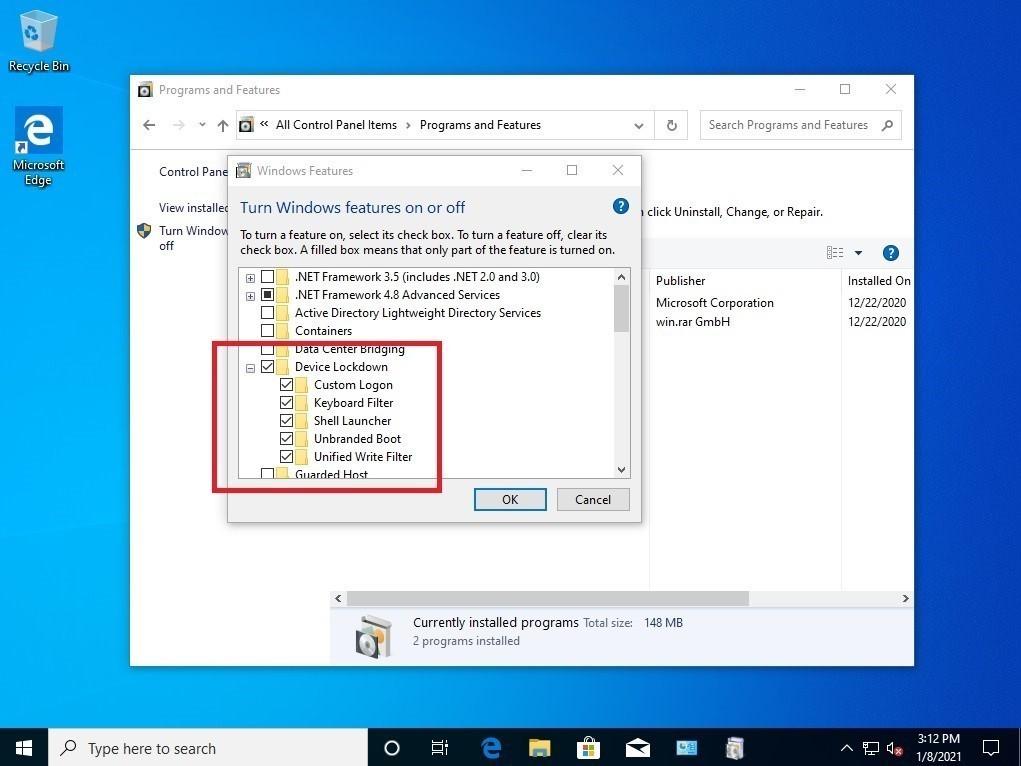 Utilidad Unified Write Filter (UWF) para Windows 10