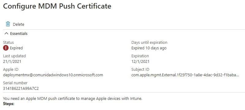 Renovar el certificado de Apple Enrollment con Intune