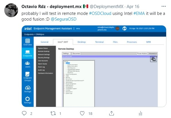 Implementar W10 a través de Intel EMA y OSDCloud